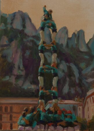 Castellers de Vilafranca levantando una torre humana
